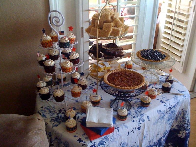 A dessert buffet with Lemon Blueberry Pie